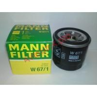 MANN-FILTER W 67/1 Фільтр масляний Subaru Impreza 1.6i 16V, 1.8i 16V 2/93-